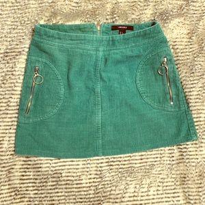 Green Velvet mini-skirt